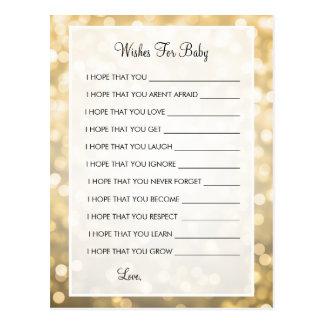 Wünsche für Baby-Duschen-GoldGlitter-Lichter Postkarte