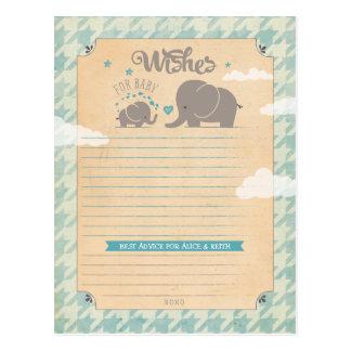 Wünsche für Baby - Elefant-Ratekarten Postkarte