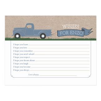 Wünsche für Baby - LKW-Ratekarten Postkarte
