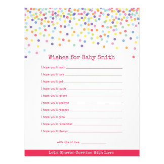 Wünsche für das Babyconfetti-Babyparty-Spiel Flyer
