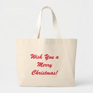 Wünschen Sie Ihnen frohen Weihnachten Jumbo Stoffbeutel