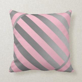 Wurf Kissen-Entwurf in den rosa u. grauen Streifen Kissen