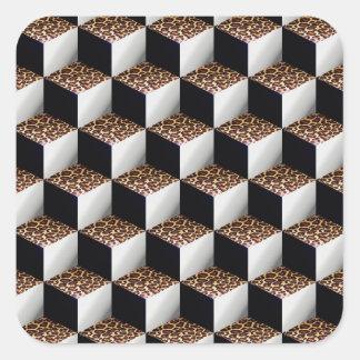 Würfel des Leopard-Schwarz-weiße schattierte Quadratischer Aufkleber