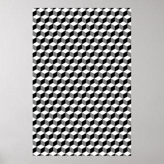 Würfel-kleines Wiederholungs-Muster Schwarz-weiß Poster