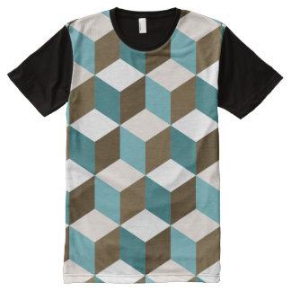 Würfel Ptn Knickenten-Browncreme u. -WEISS T-Shirt Mit Komplett Bedruckbarer Vorderseite