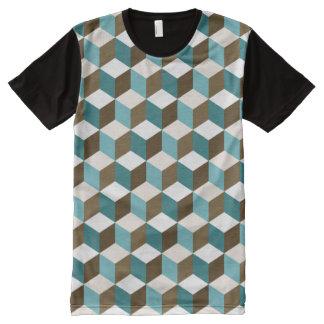 Würfel Sml Ptn Knickenten-Browncreme u. -WEISS T-Shirt Mit Komplett Bedruckbarer Vorderseite