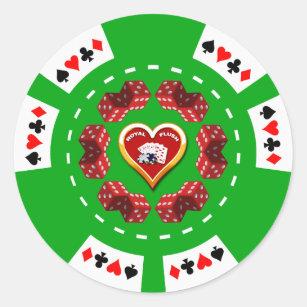 Würfel Und Königliches Erröten Poker Chip Runder Aufkleber