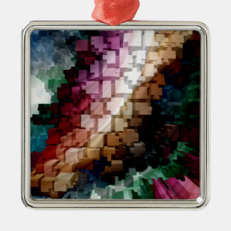 Würfel-zentraler dunkler Wind Silbernes Ornament
