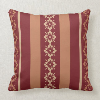 Throw Pillow Burgundy Tan OP1013