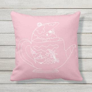 Wurfs-Kissen im Freien- Tee-Zeit - Rosa Kissen