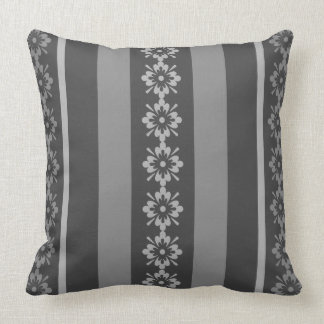 Throw Pillow Shades of Gray Stripes Floral OP1021