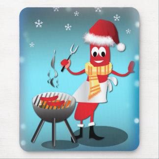 Würstchen-Weihnachtsgrill und -schnee Mousepad