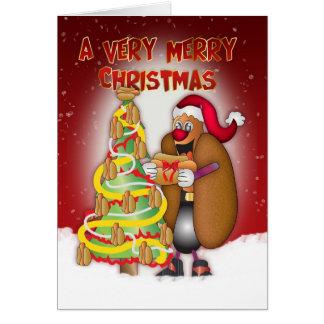 Würstchen, Zwiebeln, Brötchen, Weihnachtskarte - Karte