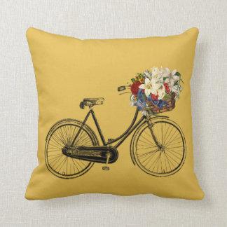 Würziges heißes Senffahrrad-Blume Throwkissen Kissen