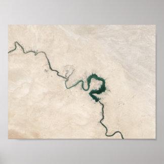 Wüsten-Fluss-Luftsprungs-Plakat Poster