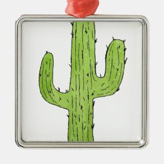 Wüsten-Kaktus-Entwurf Quadratisches Silberfarbenes Ornament