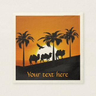 Wüsten-Kamele am Sonnenuntergang Serviette