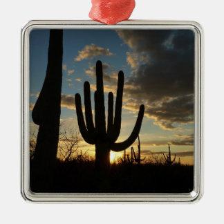 Wüsten-Landschaft des Saguaro-Sonnenuntergang-II Quadratisches Silberfarbenes Ornament