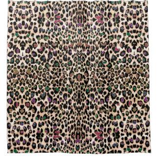 Wüsten-Regenbogen-warmer Hued Leopard-Druck Duschvorhang