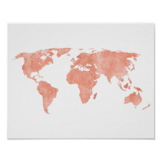 Wüsten-rosa Aquarell-Weltkarte Poster