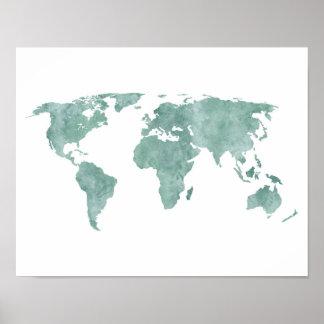 Wüsten-tadellose grüne Aquarell-Weltkarte Poster