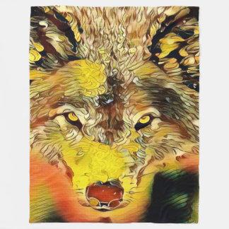 Wüsten-Wolf-Indie Spritzpistolen-Kunst Fleecedecke