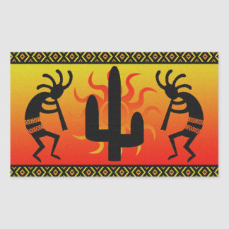 Wüstesun-Kaktus-Südwesten Kokopelli Rechteckiger Aufkleber