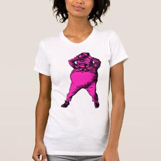 Wütend Tweedle Dee mit Tinte geschwärzte rosa T-Shirt