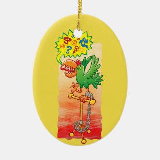 Wütende grüne Papageien-Sprichwortschlechtwörter Ovales Keramik Ornament