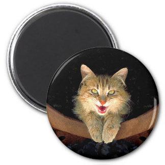 Wütende Katzen-Malerei - niedliche ursprüngliche Runder Magnet 5,1 Cm