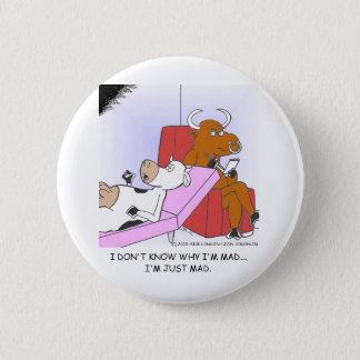 Wütende Kuh in den Therapie-lustigen Geschenken u. Runder Button 5,1 Cm