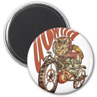 Wütende Steampunk Motorrad-Katze gehen T-Shirt.p Runder Magnet 5,1 Cm
