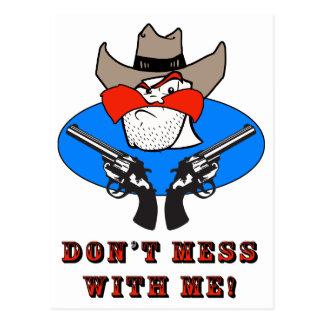 Wütender Cowboy-lustige Spaß-Illustration Postkarte