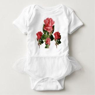 WÜTENDERE FARBVintage ROSA ROSEN Baby Strampler