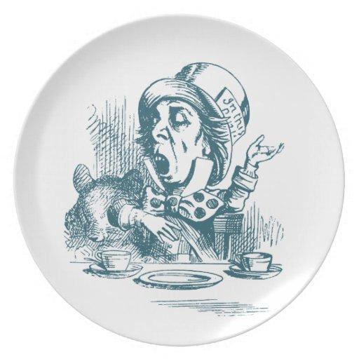 Wütendes Hutmacher-Tee-Party Teller