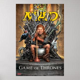 WÜTENDES Spiel des Thron-Satiren-Plakats Poster