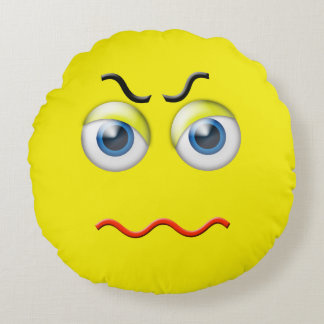 Wütendes verärgertes Emoji Rundes Kissen