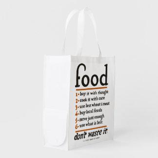 """WWI """"Nahrung-Don't Abfall es"""" wiederverwendbare Wiederverwendbare Einkaufstasche"""