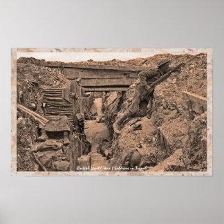 WWI Weltkrieg-britische Soldaten im Graben Poster
