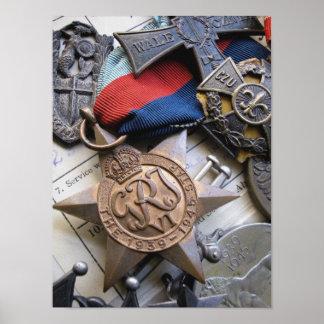 WWII Kriegs-Service-Stern-Druck Plakat
