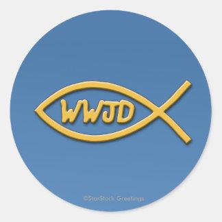 WWJD Fisch-Symbol-Aufkleber Runder Aufkleber