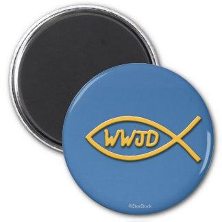 WWJD Fisch-Symbol-Magnet Runder Magnet 5,1 Cm