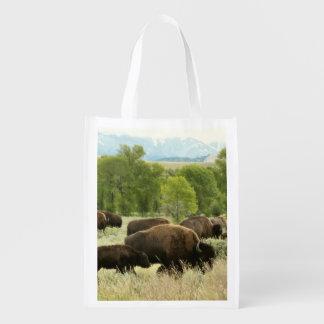 Wyoming-Bison-Natur-Tier-Fotografie Wiederverwendbare Einkaufstasche