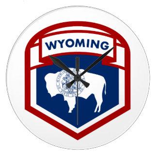 Wyoming-Staats-Flaggen-Wappen-Schild-Art Große Wanduhr