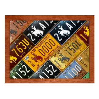 Wyoming-Staats-Lizenz-Platten-Karte durch Postkarte