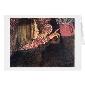 Wyspianski, Helenka mit einem Vase von Flowers, Karte