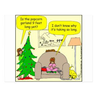 x01 Weihnachtsbaum und Popcorngirlande Postkarte