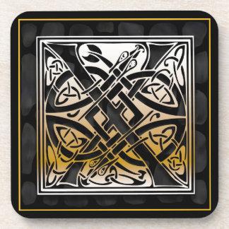 ` X' keltische schwarze Steinmonogramm-Untersetzer Getränk Untersetzer