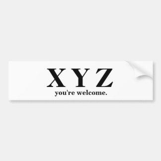 X, Y, Spiel-Hilfe Z ABC! Autoaufkleber