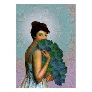Xahara: 1917 Mode-Porträt im Aqua und im Grün Visitenkarten Vorlagen